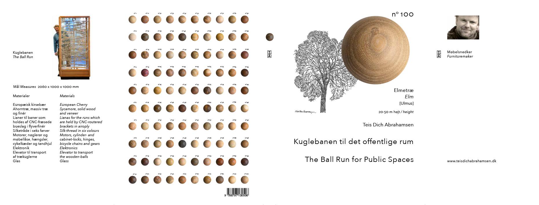 Omslag Forside, bagside med 100 kugler og klapper med beskrivelse af banens konstruktion, Dansk og engelsk tekst